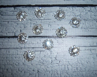 10 pieces:  15mm metal clear rhinestone flatback button cabochon