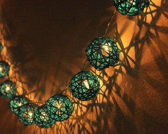 20 Turquoise Rattan Ball String Lights for Party Wedding and Decorations