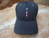 Men's Stretch Fit Golf Hat Black with Embroidered USA Flag Tee Design | Great Golf Gift Idea