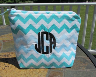 Monogrammed Clutch / Makeup Bag / Pouch (7 inch) - Monograms, Greek Letters, Names, etc
