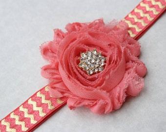 Coral headband baby headband flower girl headband gold headband toddler headband gold and coral wedding coral headband vintage
