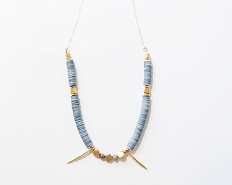 Navy and White Sequin Necklace with Gold Vermeil Spikes, Brass Beads, and Labradorite Stones