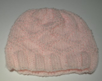 Baby's Pink, Hand Knitted, Diamond Pattern, Hat
