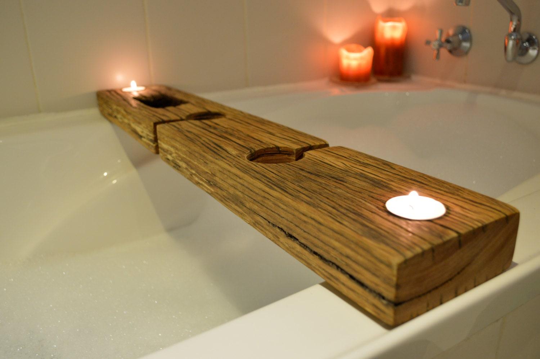 Bath Caddy Bath Tray Recycled Wood With Copper By