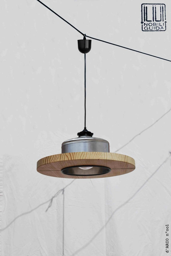Hanging / Ceiling lamp / Pendant light, color nickel... ECO - friendly: recyled from big coffe can ! for studio / office / shop / restaurant
