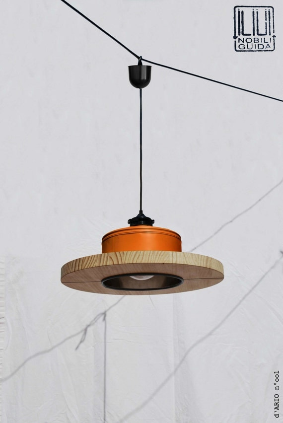 Hanging / Ceiling lamp / Pendant light,  orange / pumpkin orange.... ECO - friendly: recyled from big coffe can !