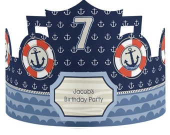 8 Custom Party Hats - Ahoy Nautical Birthday Party Supplies - 8 Count
