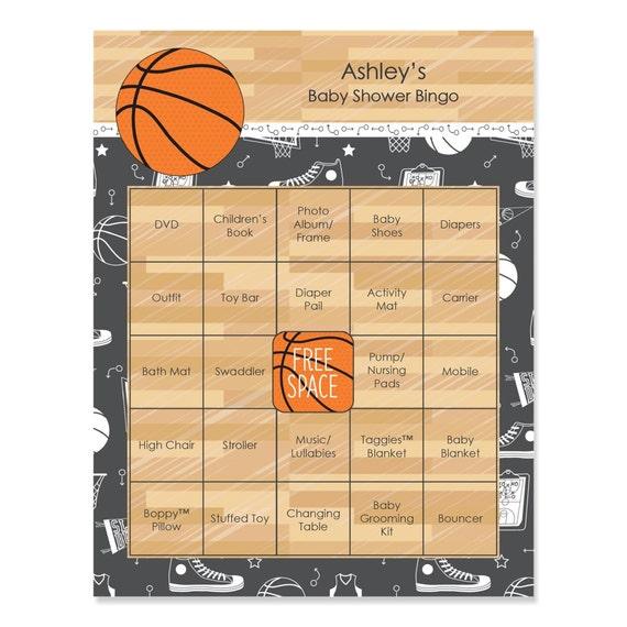 basketball baby shower bingo 16 unique personalized gift bingo game