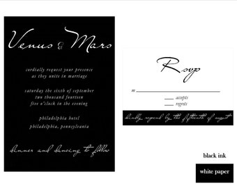 Simple Wedding Invitation Set, DIY Printable Invitation Set, Black and White Wedding Invite, Vintage Wedding Invitation Set, Classic Invite
