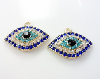 3 pcs  rhinestone evil eye pendants  premium  crystal  gift for her gold plating  18 mm x 30 mm