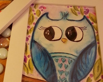 Blue and Browm Cute Owl Paintings with IKEA Frame
