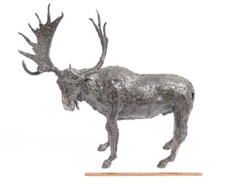 Moose, North American Mammal Made of Recycled Metal, Bull Moose