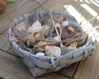 Summer Centerpiece- Beach Centerpiece- Summer Decor- Beach Decor- Basket Centerpiece- Shell Centerpiece- Shell Table Decor- Gray Decor