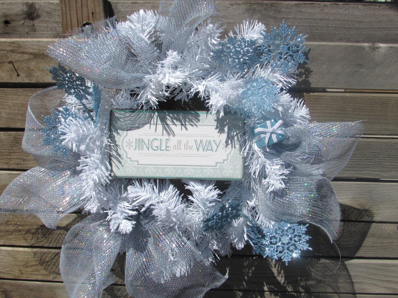 "22"" Christmas Wreath- Winter Wreath- Snowflake Wreath- Jingle All The Way Wreath- Silver & White Wreath- Christmas Present Wreath"