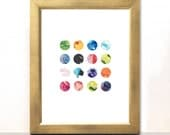Marbles Abstract Watercolour Print - Colourful Home Decor Abstract Art Print Summer Trends