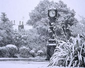 Brockwell Clock in Snowstorm.  14cm square greetings card, supplied packaged with matching white envelope.  Blank inside.