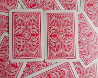 13 Red Giraffe African Safari Playing Cards, Paper Ephemera Pack, Paper Craft Supplies