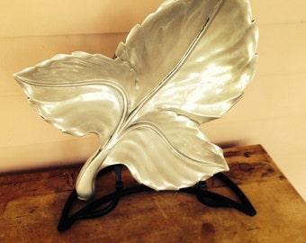 Bruce Fox Aluminum Leaf Design Serving Dish, Retro Kitchen Collectible, Functional Art Work, Industrial