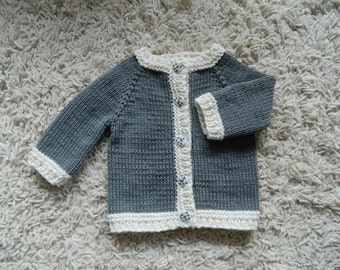 EXPRESS SHIPPING!!! Knitted Baby Boy Baby Girl Gray Cardigan Sweater Handmade Cotton And Bamboo Yarn With Bamboo Buttons