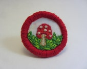 Cute Mushroom Hand Embroidered Merit Badge-Style Patch