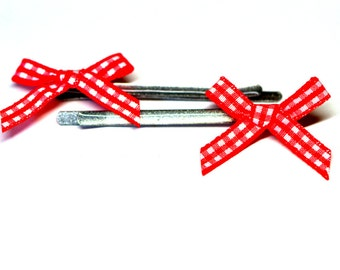 Silver toned bobby pins with Red checked fabric bows