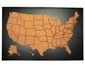 US push pin corkboard with frame. aprox. 16 x 24 inch. Cork sales map. Cork travel map. US cork map. US corkboard. Cork educational map.