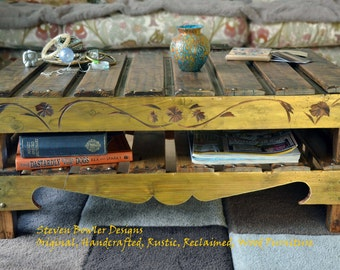 Bespoke Rustic Reclaimed Wood Coffee Table Medium Oak Stain and Autumn Gold with Under Shelf Storage & Decorative Carving Handmade to Order