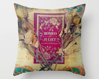 Romeo and Juliet Pillow Cover: Decor, bedding, library, librarian, teacher, Shakespeare, books, literature, photograph, roses, red, blue