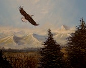 """Eagle flying over mountains and trees Original Eagle painting, Ride the Wind , Acrylic on canvas painting. 12"""" x 16"""""""