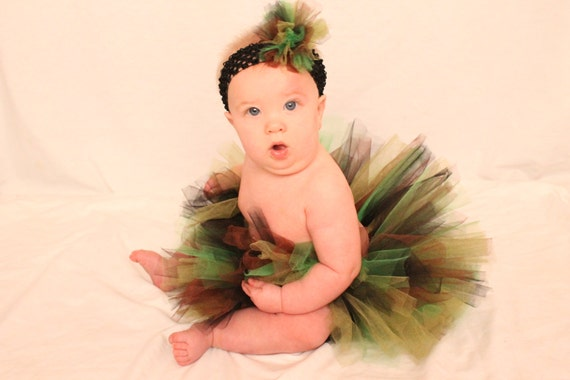 Camouflage tutu with headband, Multicolor tutu with headband, First birthday costume tutu with headband
