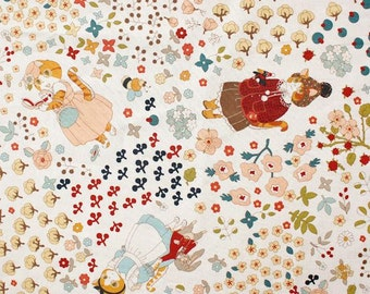 Lovely Cats and Floral Illustration Design 30s Cotton Fabric