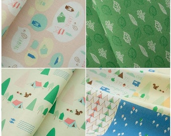 Camping Design Pattern Fabric Cotton 100% Panel, 6 Design fabric Package