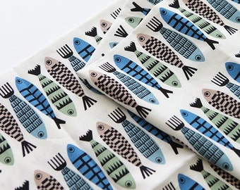 Cute Herring Pattern Cotton and Linen Blended Fabric - Scandinavian Style