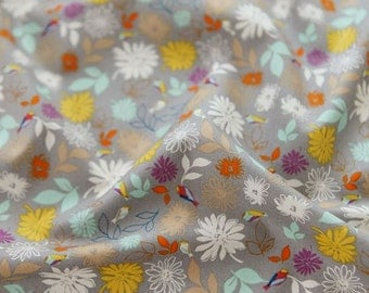 Lovely Floral and Little Bird Pattern Soft 20s Cotton Fabric - Gray Color