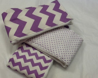 Set of 3 handcrafted baby burp cloths + lilac + chevron