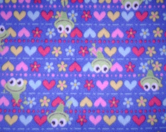 Frog Hearts on Blue Double Sided Fleece Blanket