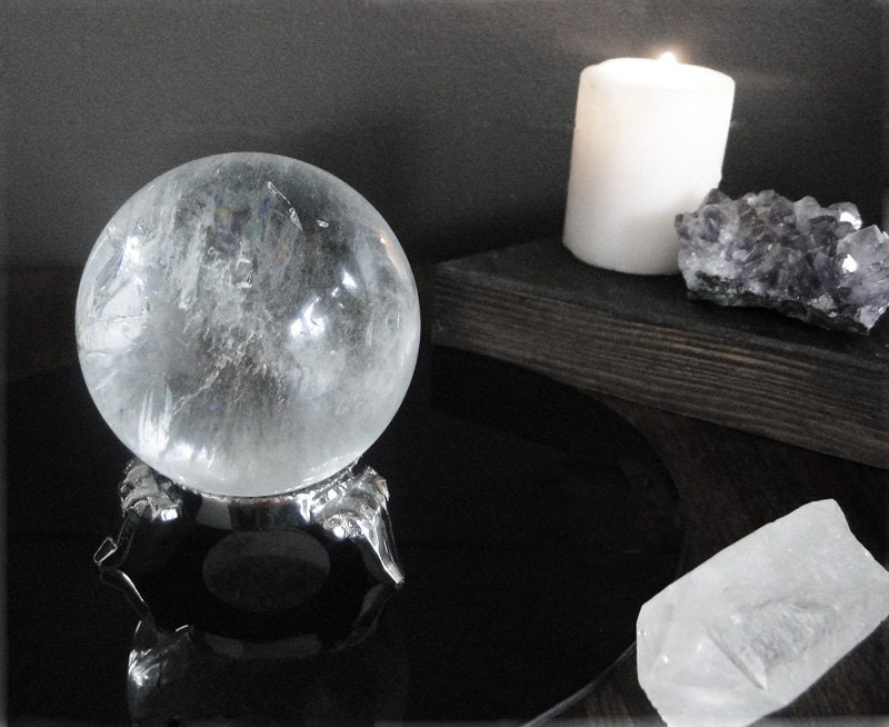 Natural Quartz Crystal Ball with Silver Stand