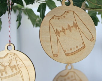 Wooden Bauble - Christmas tree baubles - Christmas Jumpers - Ugly Sweaters - Natural tree Decorations - wooden christmas baubles