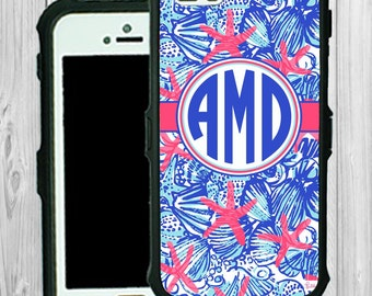 Waterproof Monogram iPhone Case Personalized iPhone 5 5S 5C Lilly Pulitzer Inspired Monogrammed Phone Case Water Resistant Heavy Duty #2321