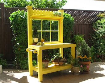Yellow Potting Bench with Vintage Window