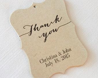 Thank You Wedding Tags, Kraft Customized Wedding Tags, Custom Wedding Favor Tags (EC-9)