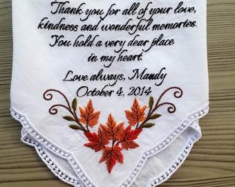 Personalized Wedding Handkerchief for grandmom. grandma hankie!!! custom embroidered gift!