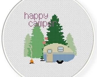 Happy Camper PDF Cross Stitch Pattern Needlecraft - Instant Download - Modern Chart