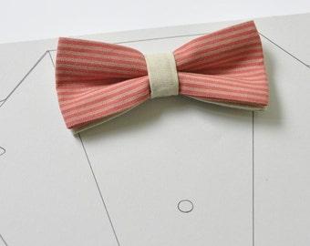 Men's bow tie. Bow tie for men. Pre tied bow tie. Boy bow tie. Men's necktie. Striped bow tie. Wedding bow tie. Groom bow tie. Red bow tie