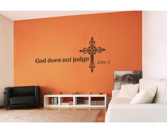 God Does Not Judge religious wall decal, sticker, mural, vinyl wall art