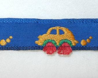 "5/8"" Yellow Cars with Red Wheels on Royal Blue Ribbon Renaissance RIB09905"