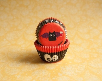 50 Halloween Bat Mini Cupcake Liners - Halloween Candy Cups