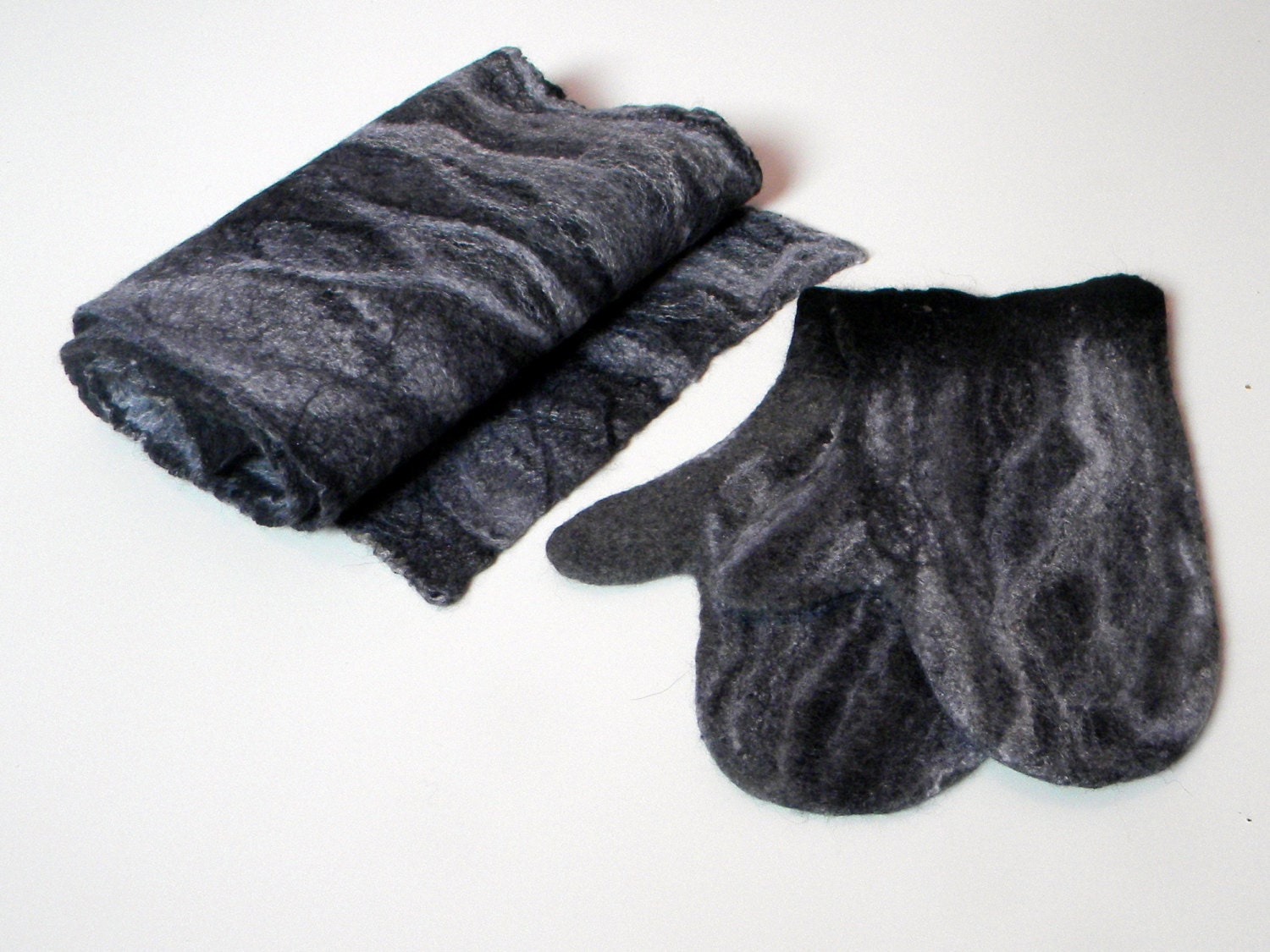 gray felted scarf and mittens scarf set felted scarf