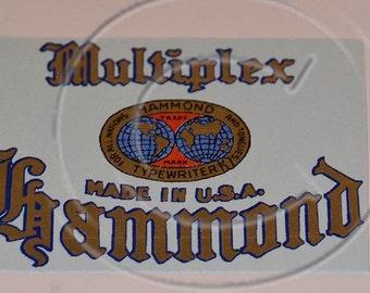 Hammond Multiplex Typewriter Water Slide Decal