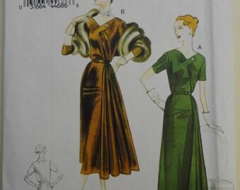 "Vogue 8850 Dramatic Front Drape Dress, Original 1951 Design, bust 38"" 40"" 42"" 44"" 46"""